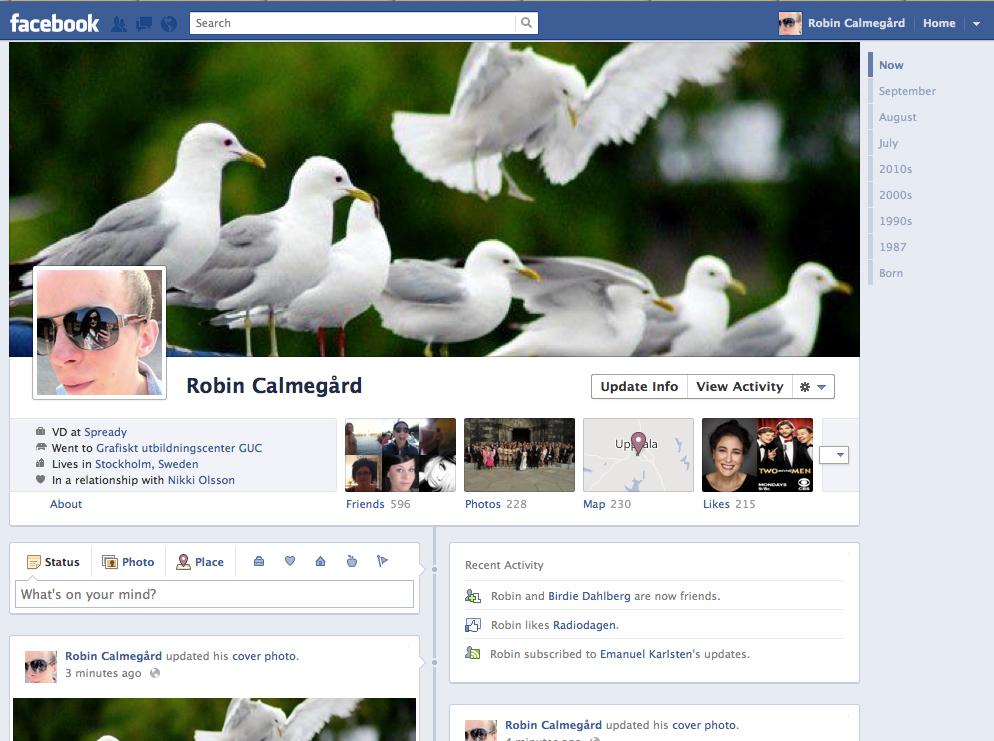 "Facebooks nya profilvy, ""Timeline"""